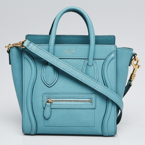 c4ea6921c9cd Celine Handbags - CELINE Antarctic Pebbled Leather Nano Luggage Bag